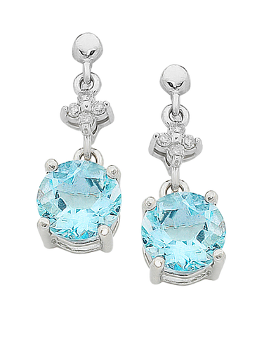 Aquamarine Earrings - 9ct White Gold Aquamarine and Diamond Earrings - 758910