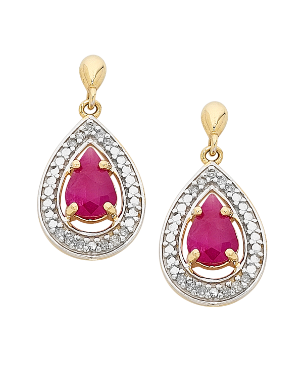 Ruby Earrings - Yellow Gold Ruby & Diamond Earrings - 758911 - Salera's Melbourne, Victoria and Brisbane, Queensland Australia