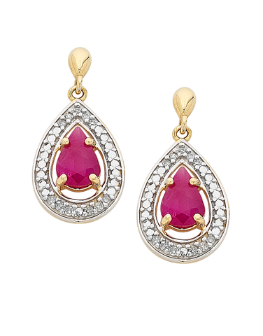 Ruby Earrings - Yellow Gold Ruby & Diamond Earrings - 758911