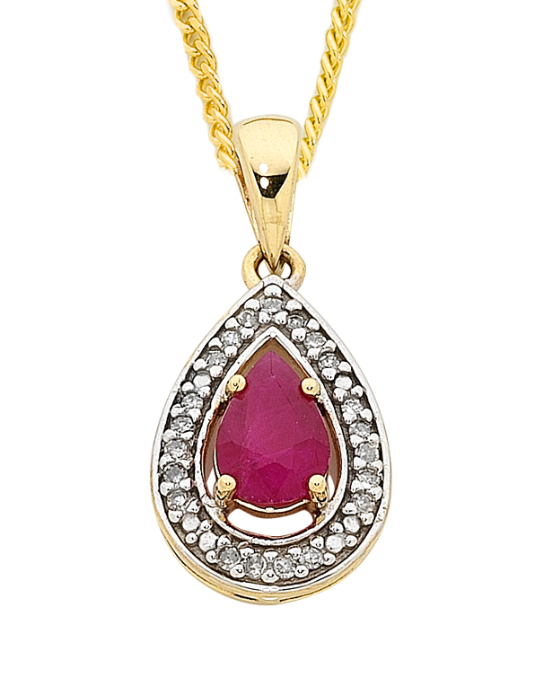 Ruby Pendant - Yellow Gold Ruby & Diamond Pendant - 758912 - Salera's
