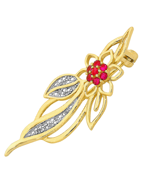 Gold Brooch - Diamond & Ruby Flower Brooch - 758916 - Salera's Melbourne, Victoria and Brisbane, Queensland Australia