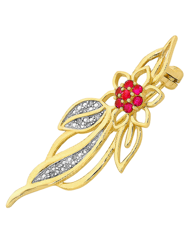 Gold Brooch - Diamond & Ruby Flower Brooch - 758916