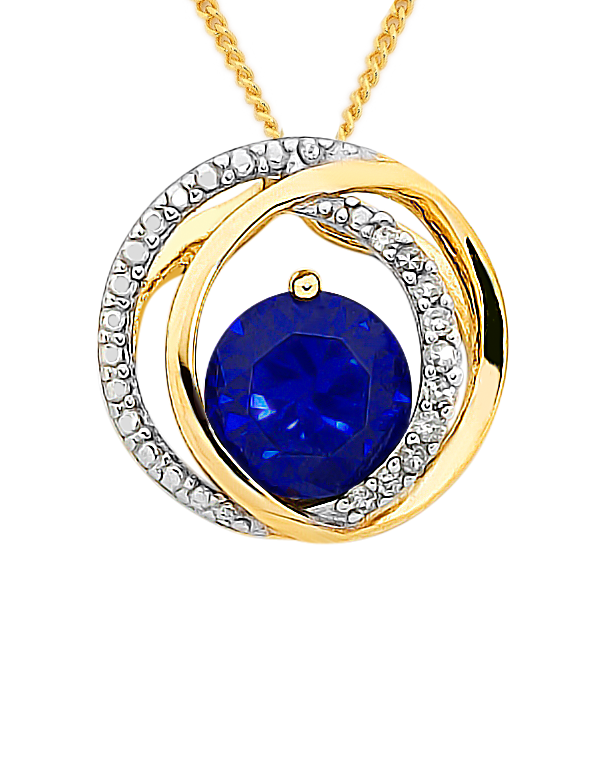 Sapphire Pendant - 9ct Yellow Gold Sapphire and Diamond Pendant - 758919 - Salera's Melbourne, Victoria and Brisbane, Queensland Australia
