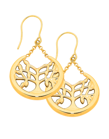 Gold Earrings - Yellow Gold Tree of Life Earrings - 759051