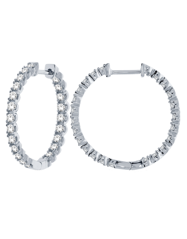 Diamond Earrings - 10ct White Gold Diamond Set Hoops - 768619
