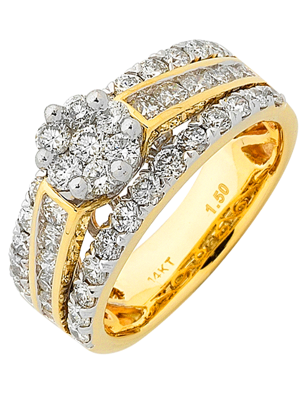 Diamond Ring - Yellow Gold Diamond Cluster Ring - 759091 - Salera's Melbourne, Victoria and Brisbane, Queensland Australia