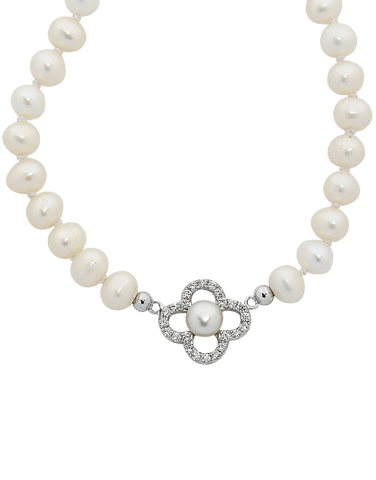 Pearl Necklace - Sterling Silver Pearl & CZ Necklet (45cm) - 759268