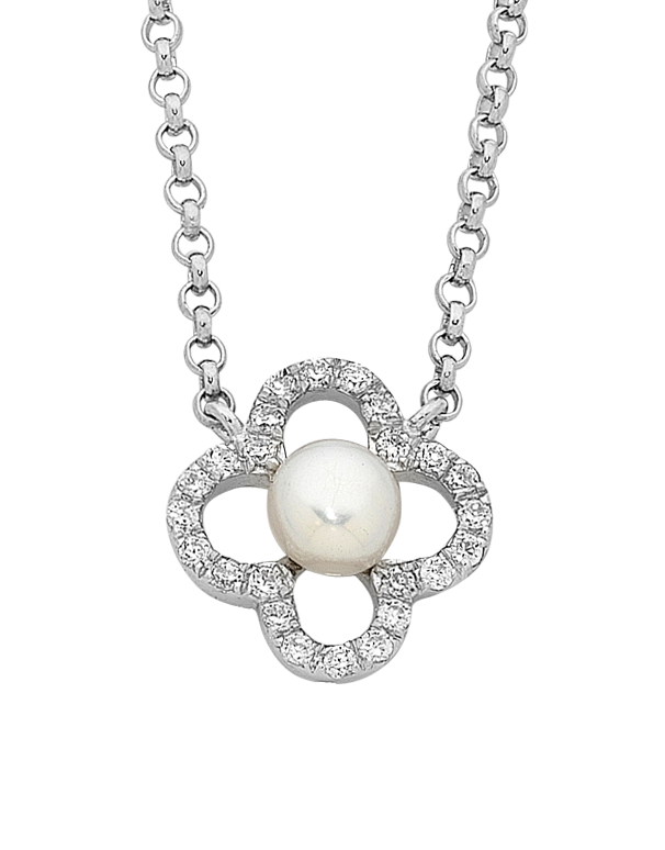 Pearl Necklace - Sterling Silver Pearl & CZ Necklet (45cm) - 759269 - Salera's