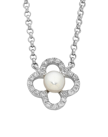 Pearl Necklace - Sterling Silver Pearl & CZ Necklet (45cm) - 759269