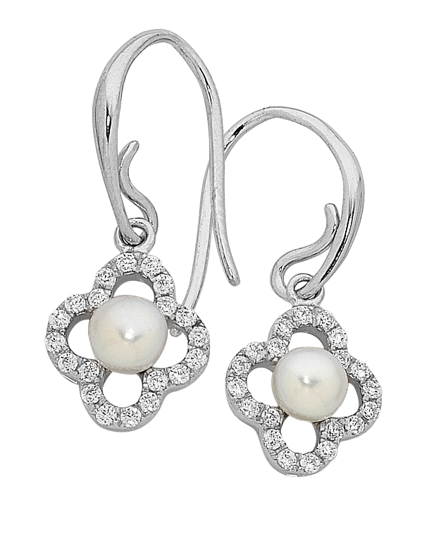 Pearl Earrings - Sterling Silver Pearl and CZ Earrings - 759272 - Salera's Melbourne, Victoria and Brisbane, Queensland Australia