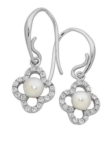 Pearl Earrings - Sterling Silver Pearl & CZ Earrings - 759272