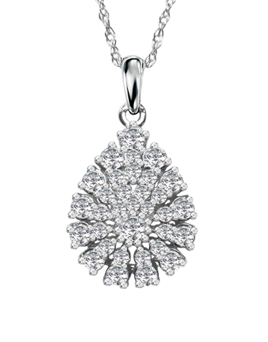 Diamond Pendant - White Gold Diamond Pendant - 759281