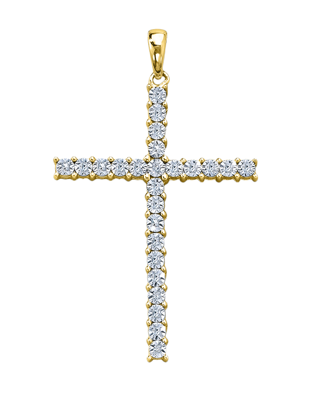 Cross Necklet - Yellow Gold Diamond Cross Necklet - 759319 - Salera's Melbourne, Victoria and Brisbane, Queensland Australia