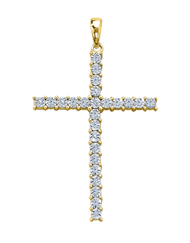 Cross Necklet - Yellow Gold Diamond Cross Necklet - 759319