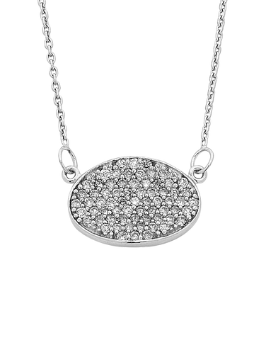 Diamond Pendant - White Gold Diamond Cluster Pendant - 759325