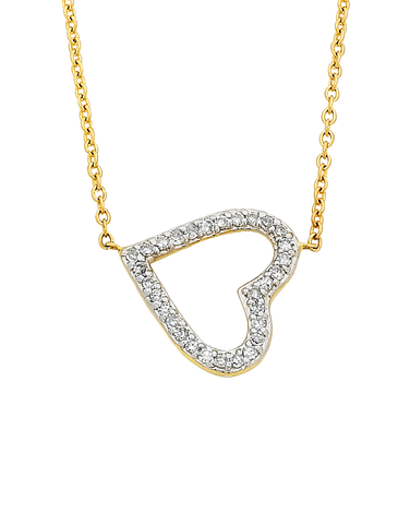 Diamond Necklace - Yellow Gold Diamond Heart Necklace - 759326