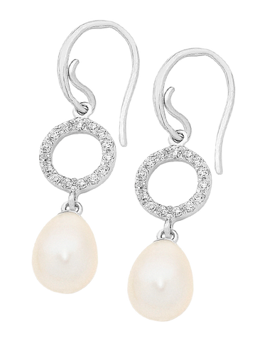 Pearl Earrings - Sterling Silver Pearl & CZ Earrings - 759348