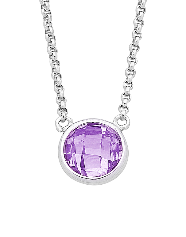Silver Necklace - Sterling Silver Purple CZ Necklet - 759354 - Salera's