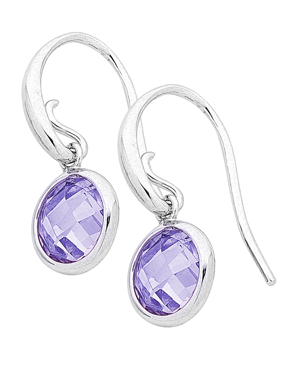 Silver Earrings - Sterling Silver Purple CZ Earrings - 759355 - Salera's Melbourne, Victoria and Brisbane, Queensland Australia