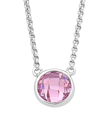 Silver Necklace - Sterling Silver Pink CZ Necklet - 759356