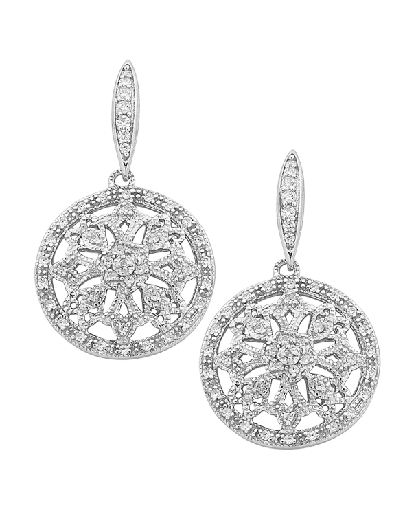 Silver Earrings - Sterling Silver CZ Snowflake Earrings - 759359 - Salera's Melbourne, Victoria and Brisbane, Queensland Australia