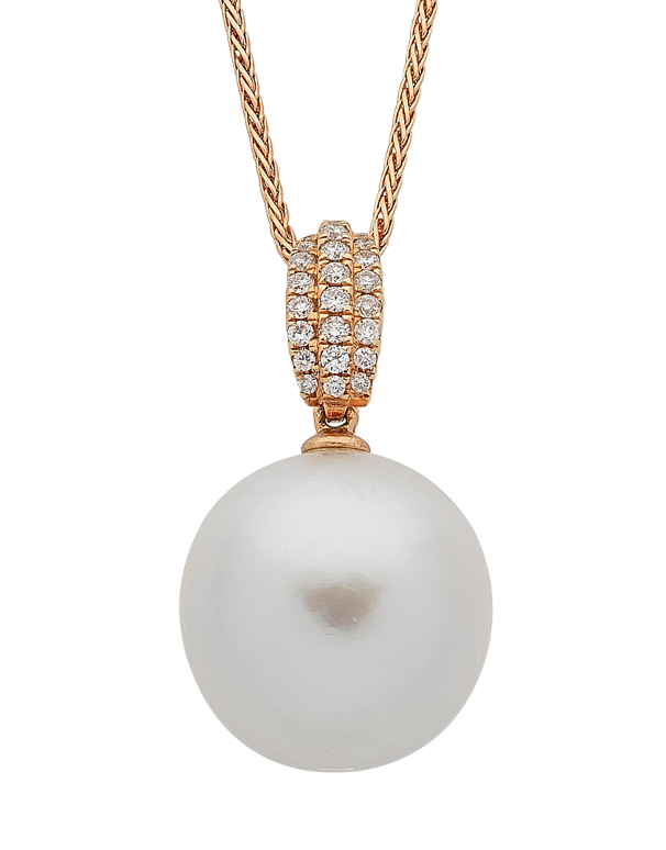 Pearl Pendant - Rose Gold South Sea Pearl & Diamond Pendant - 759371 - Salera's Melbourne, Victoria and Brisbane, Queensland Australia