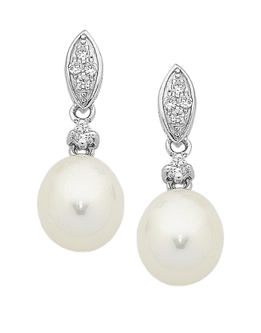 Pearl Earrings - Sterling Silver Pearl & CZ Earrings - 759448