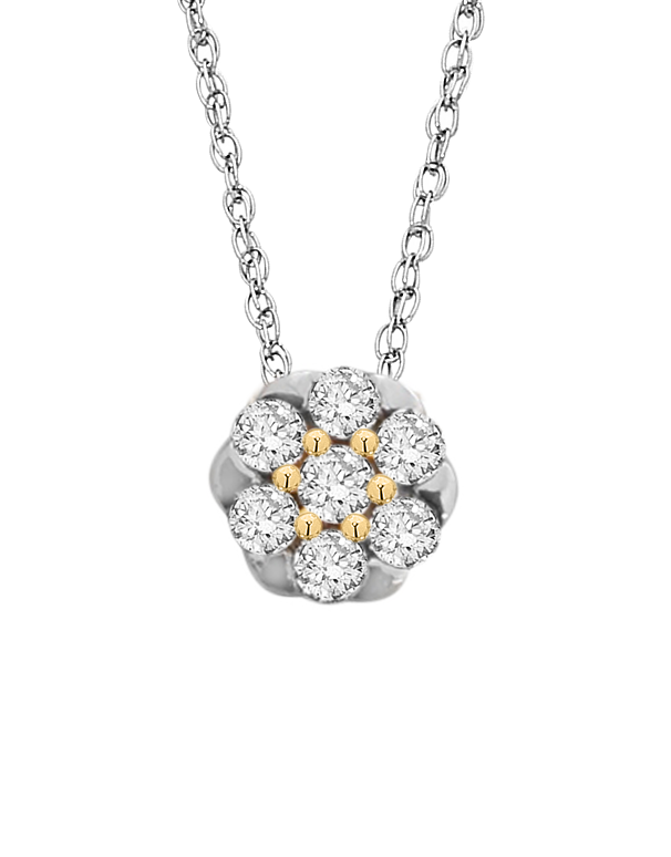 Diamond Pendant - Two Tone Gold Diamond Pendant - 759496 - Salera's