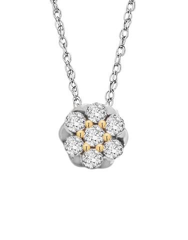 Diamond Pendant - Two Tone Gold Diamond Pendant - 759496