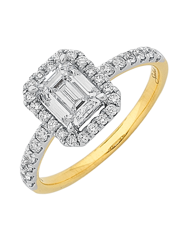 Diamond Ring - Emerald Cut Halo Engagement Ring - 759555