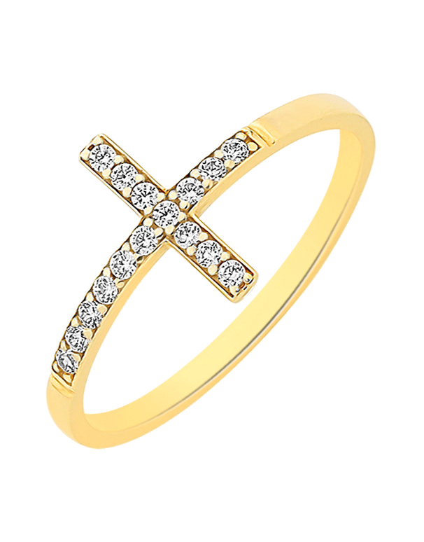 CZ Ring - 9ct Yellow Gold CZ Cross Ring - 760126 - Salera's Melbourne, Victoria and Brisbane, Queensland Australia