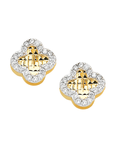 CZ Studs - 9ct Yellow Gold Four Leaf Clover Stud Earrings - 760130
