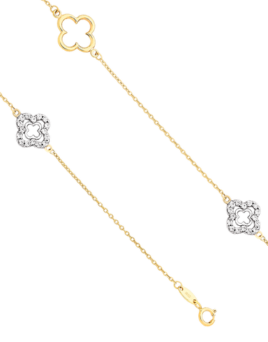 CZ Bracelet - 9ct Yellow Gold Four Leaf Clover Bracelet - 760131