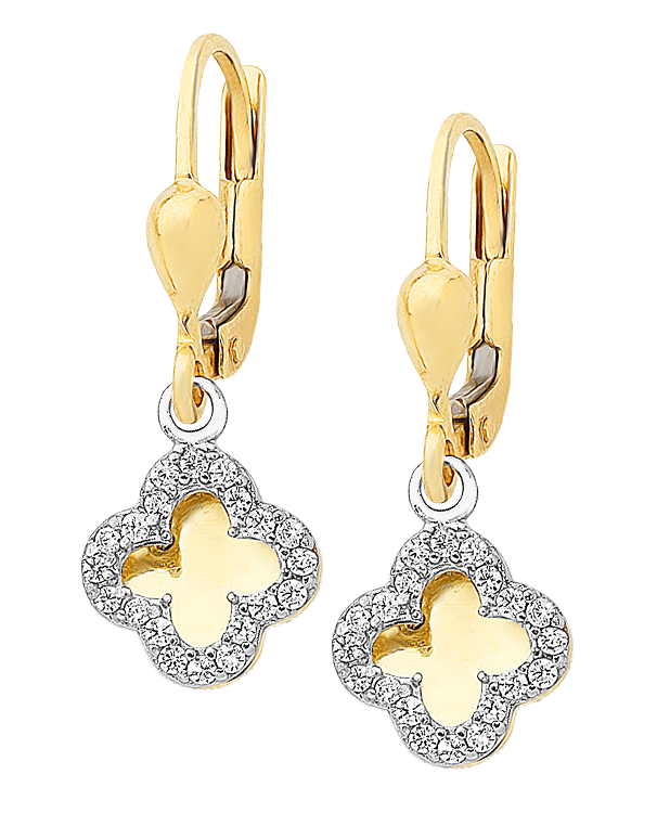 CZ Earrings - 9ct Yellow Gold Four Leaf Clover Earrings - 760132 - Salera's Melbourne, Victoria and Brisbane, Queensland Australia