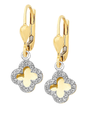 CZ Earrings - 9ct Yellow Gold Four Leaf Clover Earrings - 760132