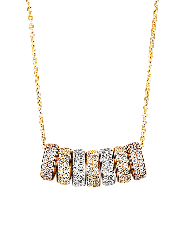 CZ Necklace - 9ct Three Tone 7 Rings of Luck Necklet - 760139 - Salera's Melbourne, Victoria and Brisbane, Queensland Australia