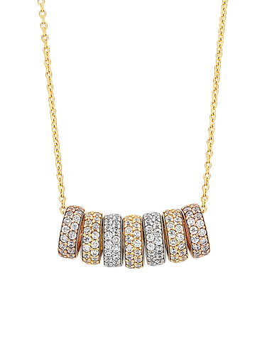 CZ Necklace - 9ct Three Tone 7 Rings of Luck Necklet - 760139