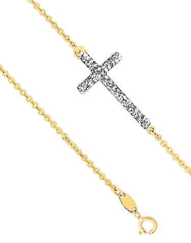 CZ Bracelet - 9ct Yellow Gold Crystal Cross Bracelet - 760140