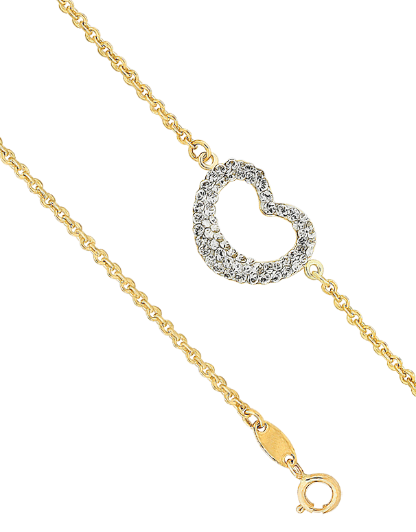 CZ Bracelet - 9ct Yellow Gold Crystal Heart Bracelet - 760156 - Salera's