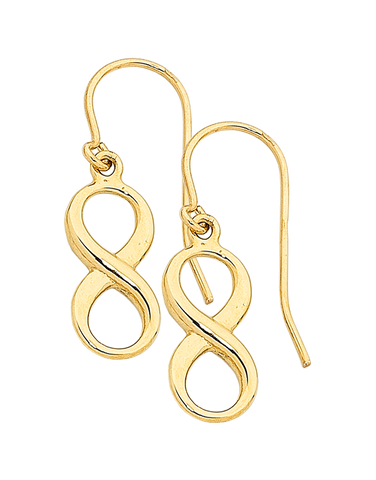 Gold Earrings - Yellow Gold Infinity Earrings - 760168