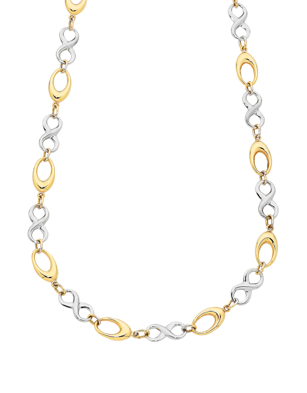 Gold Necklace - Two Tone Gold Infinity Necklet - 760173 - Salera's Melbourne, Victoria and Brisbane, Queensland Australia - 1