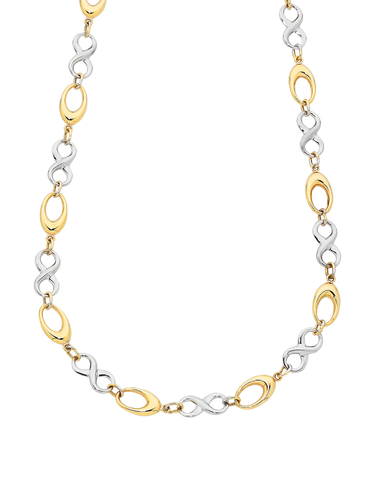 Gold Necklace - Two Tone Gold Infinity Necklet - 760173