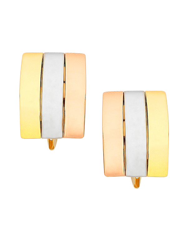 Gold Earrings - 9ct Three Tone Gold Earrings - 760183 - Salera's Melbourne, Victoria and Brisbane, Queensland Australia - 1