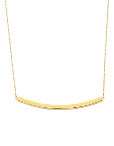 Gold Necklace - Yellow Gold Bar Necklet - 760195