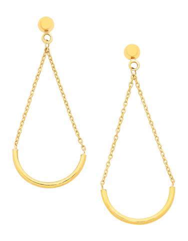 Gold Earrings - Yellow Gold Drop Earrings - 760197