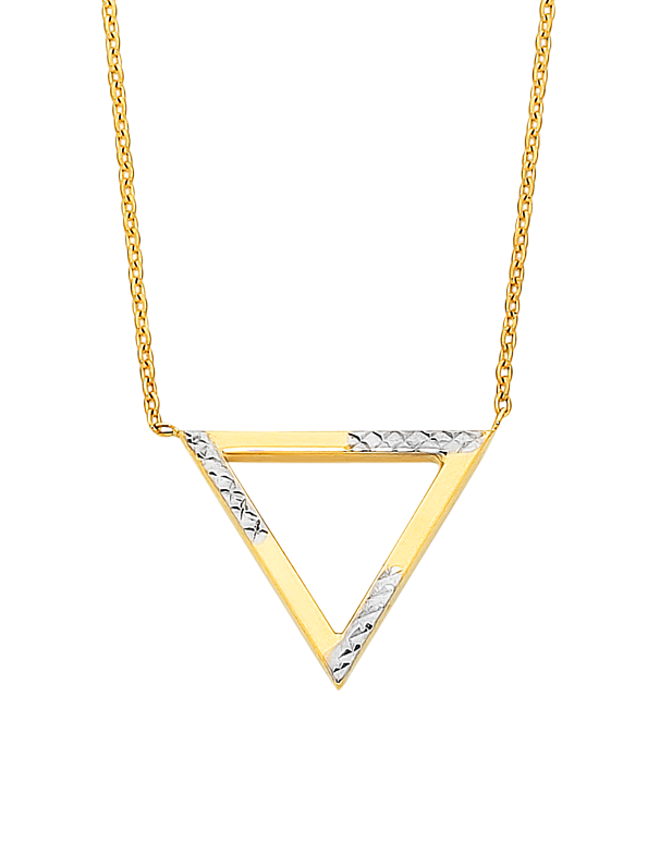 Gold Necklace - Two Tone Gold Triangle Necklet - 760199 - Salera's Melbourne, Victoria and Brisbane, Queensland Australia