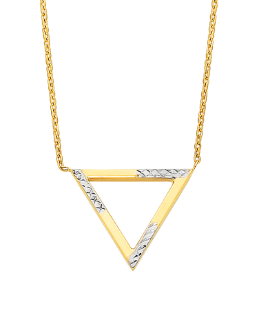 Gold Necklace - Two Tone Gold Triangle Necklet - 760199