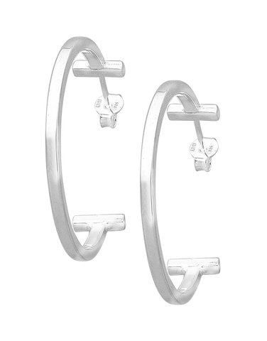 Silver Earrings - Sterling Silver Hoops - 760207