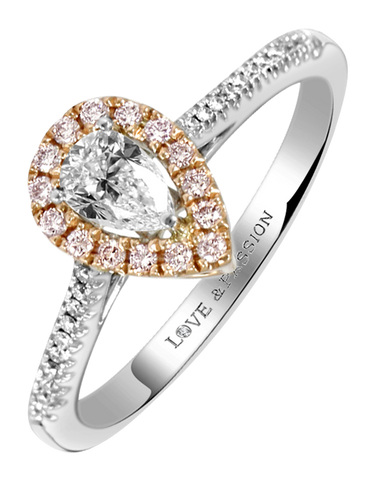 Love & Passion - White Gold Pear Cut Diamond Engagement Ring
