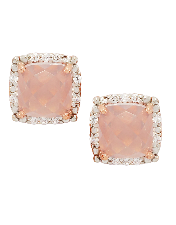 Rose Quartz Earrings - Rose Gold Rose Quartz and Diamond Earrings - 760649 - Salera's